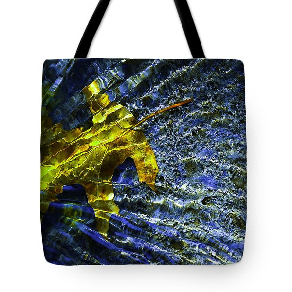 Leaf In Creek - Blue Abstract Tote Bag by Darryl Dalton