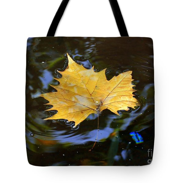 Leaf In Pond Tote Bag