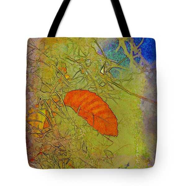 Leaf In The Moss Tote Bag by Deborah Benoit