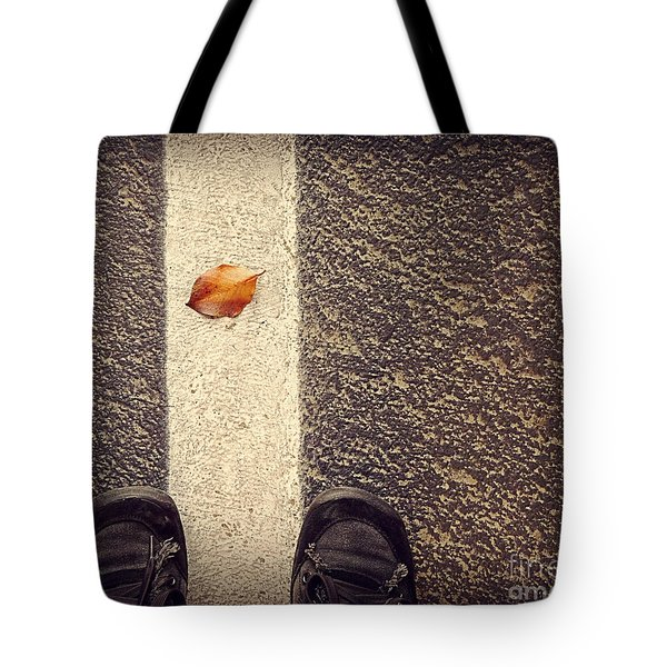 Tote Bag featuring the photograph Leaf On The Line by Meghan at FireBonnet Art