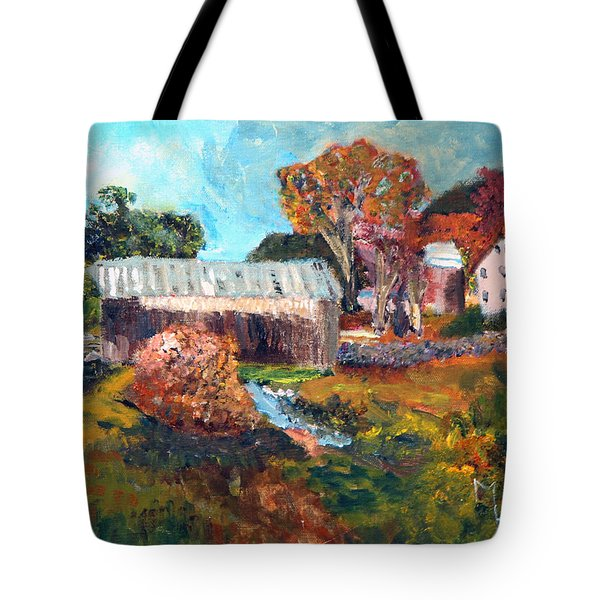 Tote Bag featuring the painting Leaf Peeping Season In Vermont by Michael Helfen