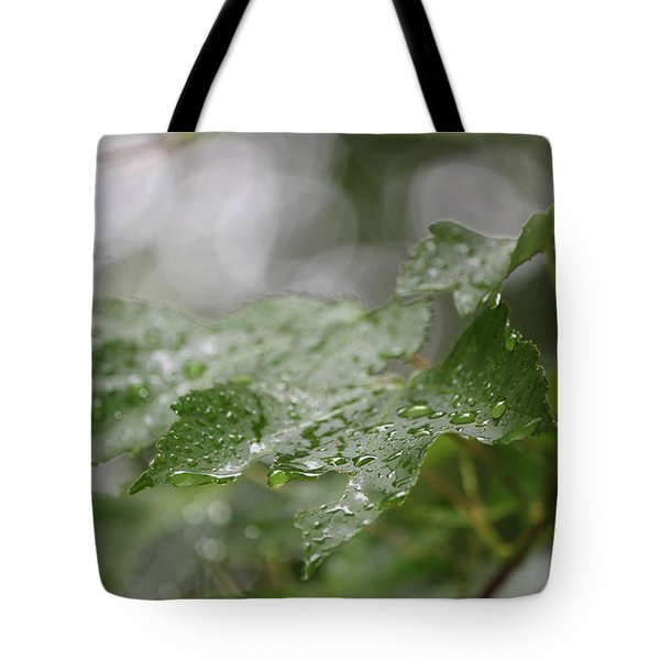 Leafy Raindrops Tote Bag