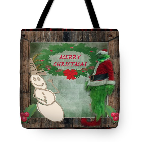 Tote Bag featuring the photograph Leaning Into Christmas by Donna Brown