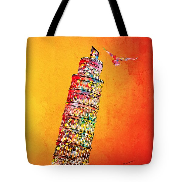Leaning Tower Tote Bag by Mark Ashkenazi