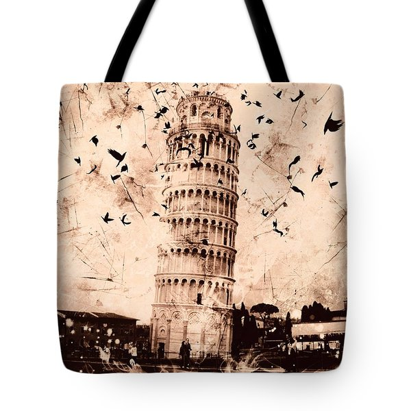 Leaning Tower Of Pisa Sepia Tote Bag