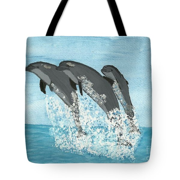 Leaping Dolphins Tote Bag by Tracey Williams