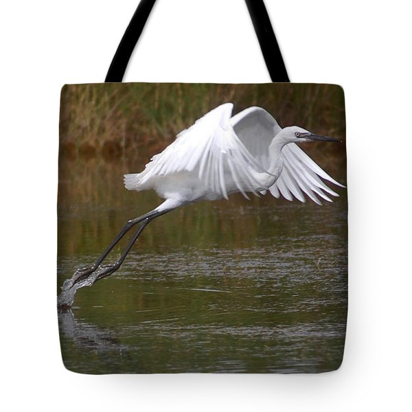 Leaping Egret Tote Bag by Leticia Latocki