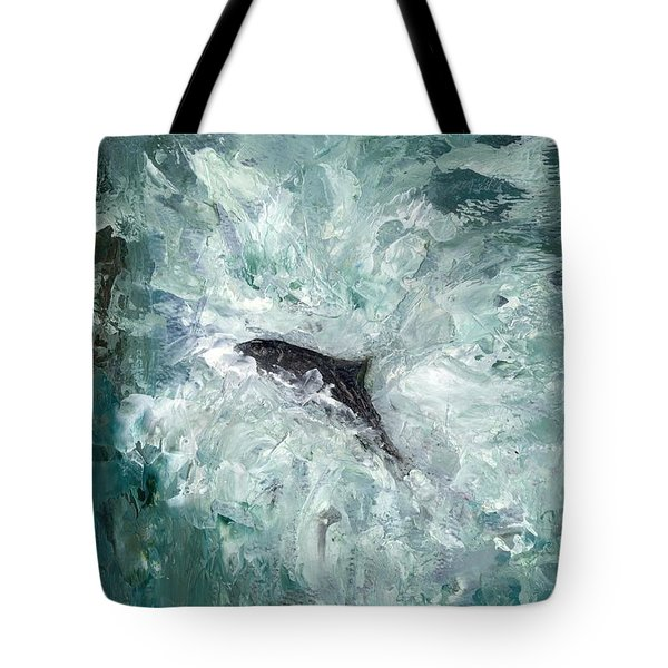 Leaping Salmon Tote Bag by Carol Rowland