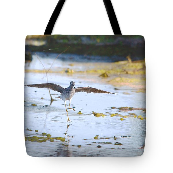 Least Sandpiper Water Landing Tote Bag