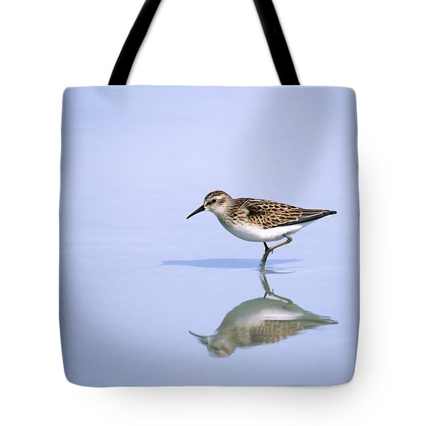 Least Sandpiper With Reflection And Shadow Tote Bag