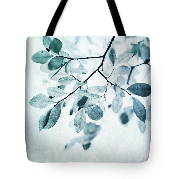Leaves In Dusty Blue Tote Bag