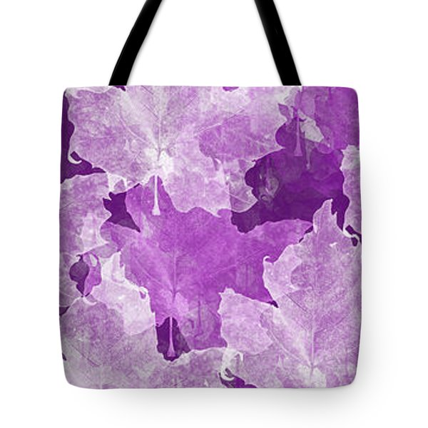 Leaves In Radiant Orchid Panorama Tote Bag by Andee Design