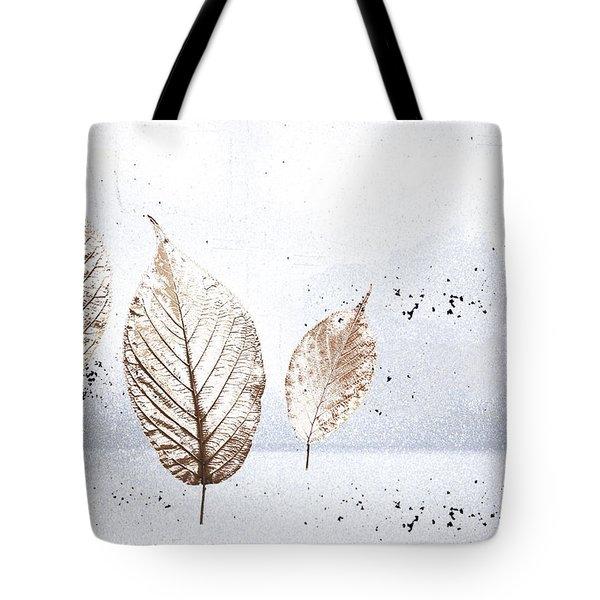 Leaves In Snow Tote Bag