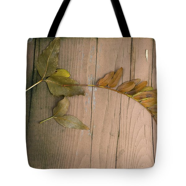 Leaves On A Wooden Step Tote Bag