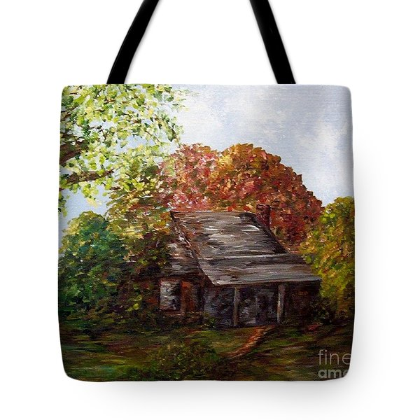 Tote Bag featuring the painting Leaves On The Cabin Roof by Eloise Schneider