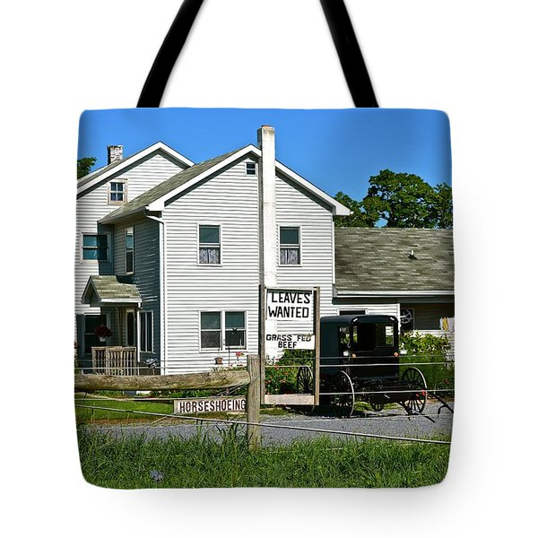 Leaves Wanted Grass Fed Beef Horseshoeing Tote Bag