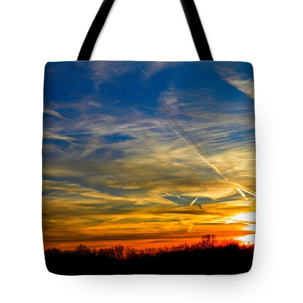 Leavin On A Jetplane Sunset Tote Bag by Nick Kirby