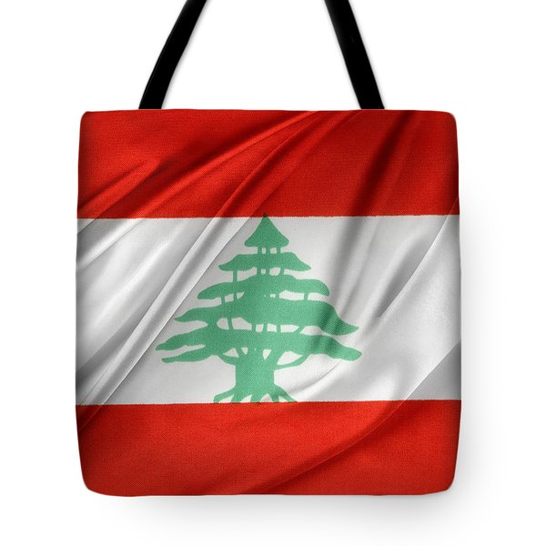 Lebanese Flag Tote Bag by Les Cunliffe