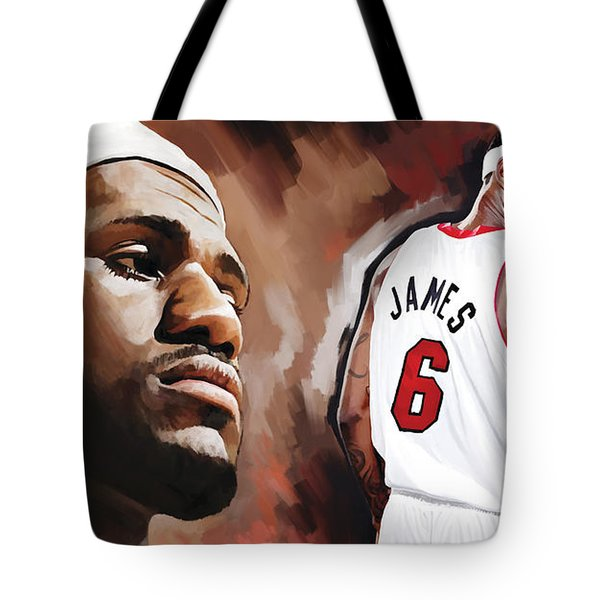 Lebron James Artwork 2 Tote Bag by Sheraz A