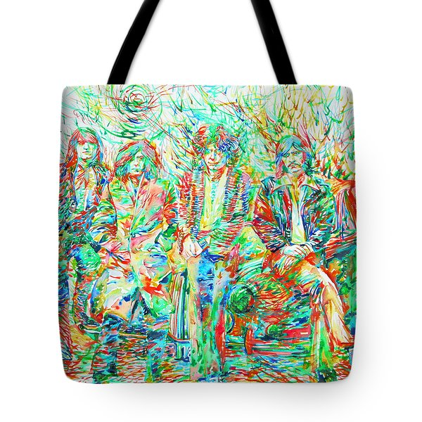 Led Zeppelin - Watercolor Portrait.1 Tote Bag by Fabrizio Cassetta