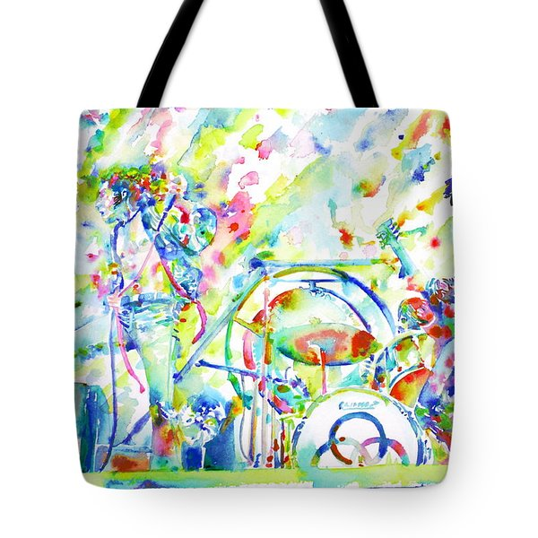 Led Zeppelin Live Concert - Watercolor Painting Tote Bag by Fabrizio Cassetta