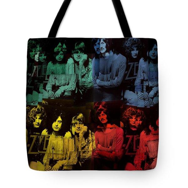 Led Zeppelin Pop Art Collage Tote Bag