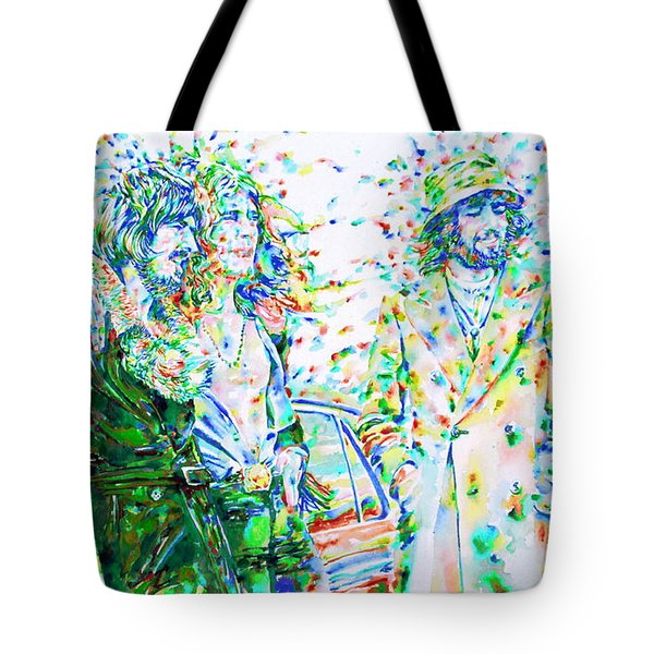 Led Zeppelin - Watercolor Portrait.2 Tote Bag by Fabrizio Cassetta