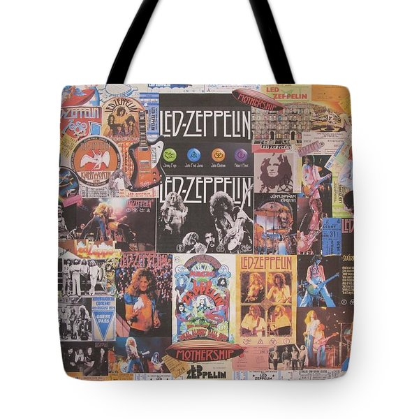 Led Zeppelin Years Collage Tote Bag by Donna Wilson