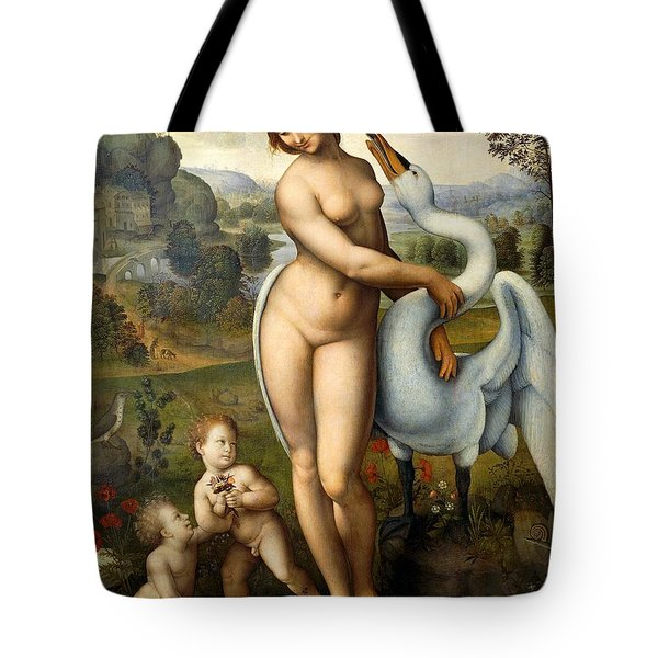 Leda And Swan Tote Bag by Leonardo Da Vinci