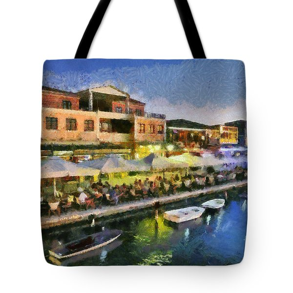 Lefkada Town During Dusk Time Tote Bag