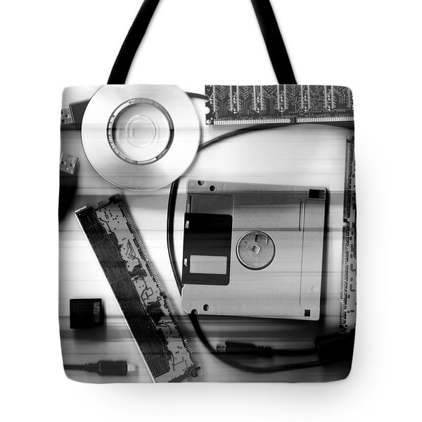 Leftover Tech - Black And White Tote Bag by Shawna Rowe
