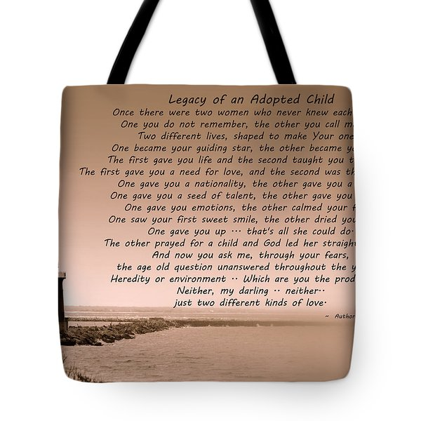 Legacy Of An Adopted Child Tote Bag