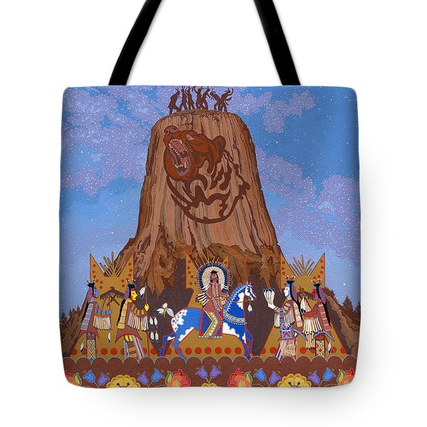 Tote Bag featuring the painting Legend Of Bear's Tipi by Chholing Taha