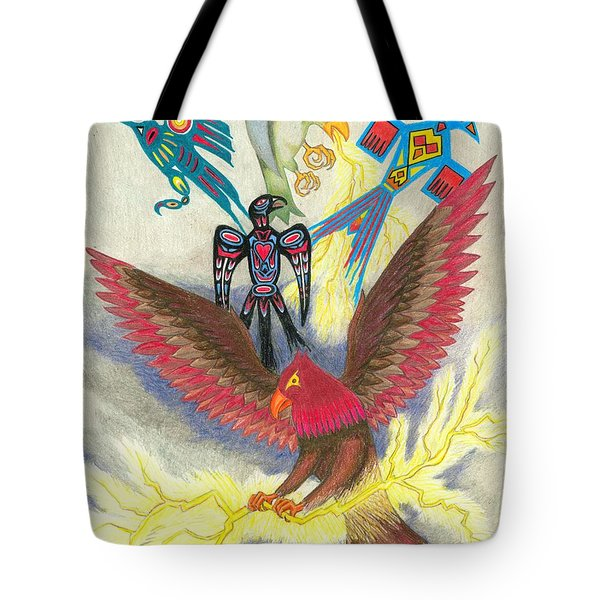 Legend Of The Thunderbird Tote Bag by Lew Davis