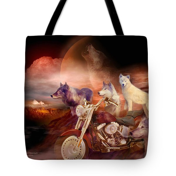 Legend Of Wolf Mountain Tote Bag by Carol Cavalaris