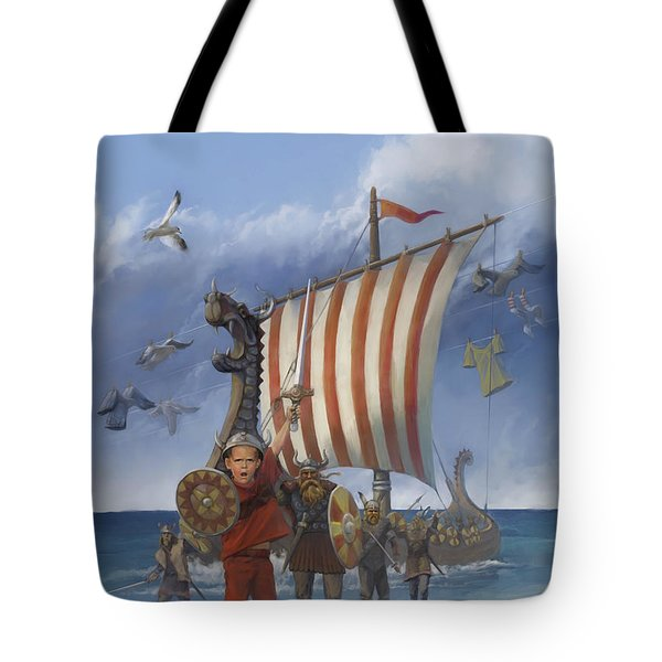 Tote Bag featuring the painting Legendary Viking by Rob Corsetti