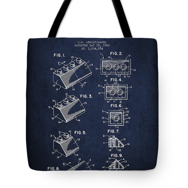 Lego Toy Building Blocks Patent - Navy Blue Tote Bag by Aged Pixel