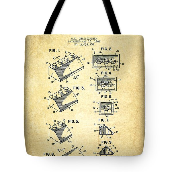 Lego Toy Building Blocks Patent - Vintage Tote Bag by Aged Pixel