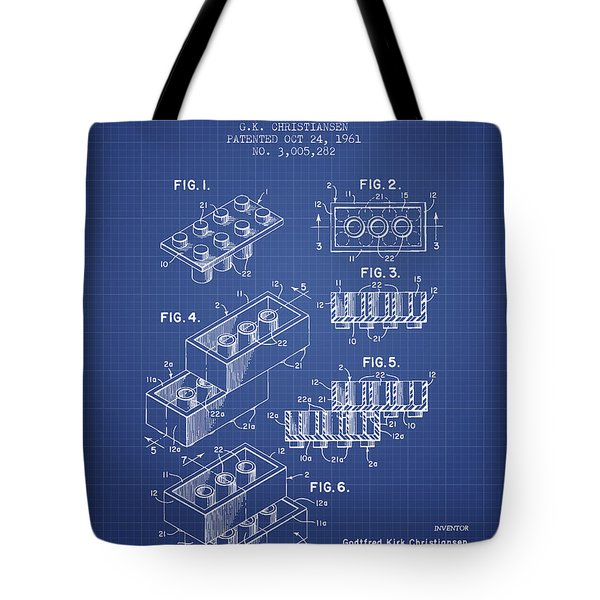 Lego Toy Building Brick Patent From 1961 - Blueprint Tote Bag