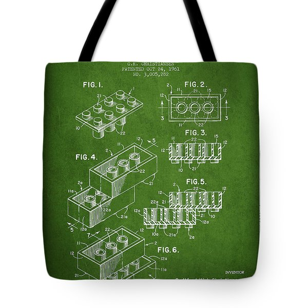 Lego Toy Building Brick Patent - Green Tote Bag by Aged Pixel