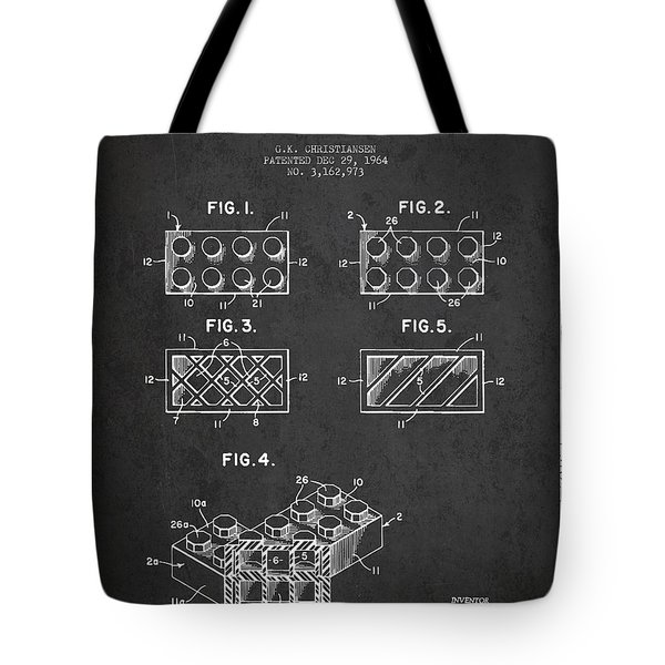 Lego Toy Building Element Patent - Dark Tote Bag by Aged Pixel