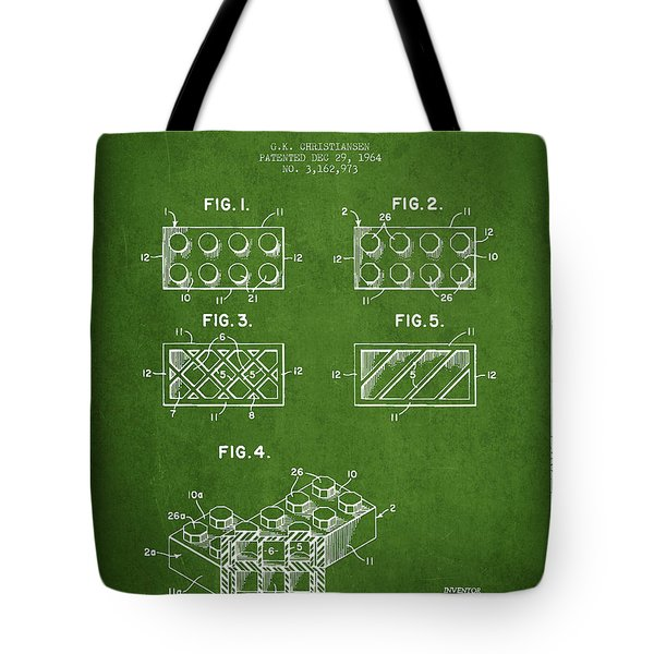 Lego Toy Building Element Patent - Green Tote Bag by Aged Pixel