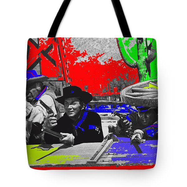 Leif Erickson Cameron Mitchell  Mark Slade Number 2 The High Chaparral Set Old Tucson Az 1969-2008 Tote Bag by David Lee Guss