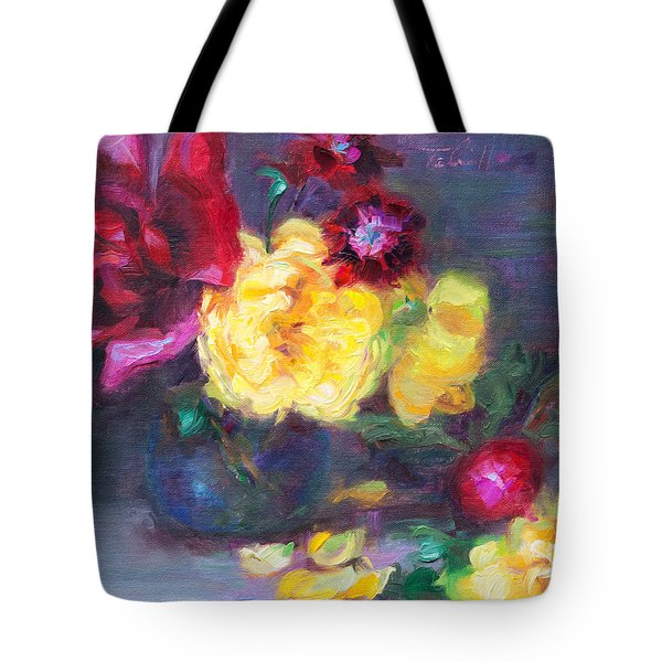 Lemon And Magenta - Flowers And Radish Tote Bag
