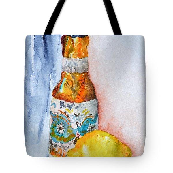 Lemon And Pilsner Tote Bag by Beverley Harper Tinsley