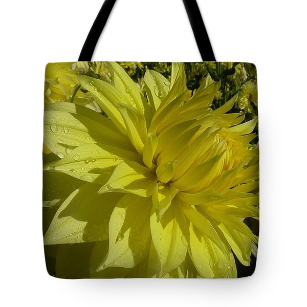 Tote Bag featuring the photograph Lemon Yellow Dahlia  by Susan Garren