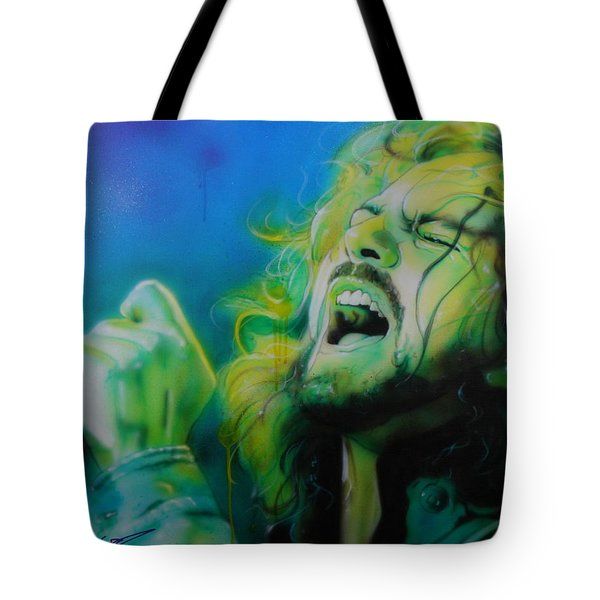 Eddie Vedder - ' Lemon Yellow Sun ' Tote Bag by Christian Chapman Art