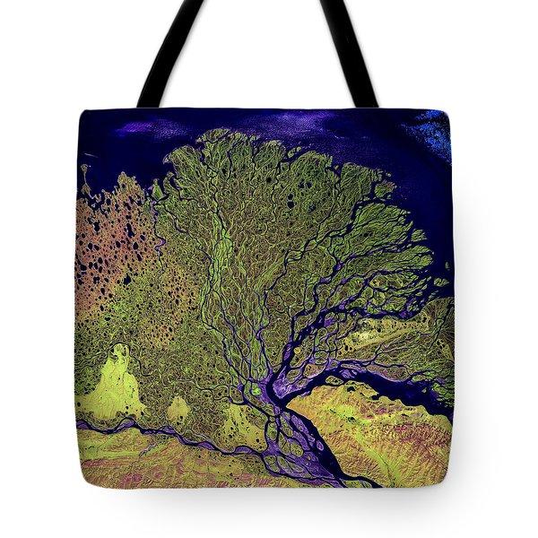 Lena River Delta Tote Bag by Adam Romanowicz