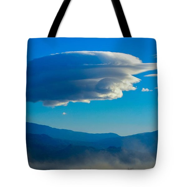 Lenticular Dust Storm Tote Bag by Angela J Wright