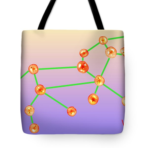 Leo Constellation Composed By Tomato Slices Food Art Tote Bag by Paul Ge